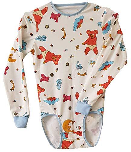 Erwachsene Baby Einteiler Windel-Liebhaber (ABDL) Druckknöpfe im Schritt Strampler Exklusiv in Deutschland gefertigt (XLarge)