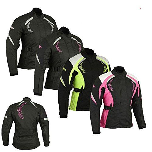 PROFIRST Damen Motorradjacke – Damen Motorrad gepanzerter Textil Cordura Wasserdichte Jacke – Pink mit rosa Blume – L