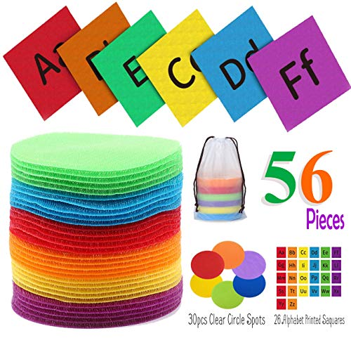 Pfleg Pcts � 56 Piece Carpet Markers, Sit Spots - Best Nylon, Strong Sticking Circle Pad Spot Marker� 5� Alphabet Squares and Color Circles Sit Spots for Classrooms, Home, Gym, Yoga, Games.