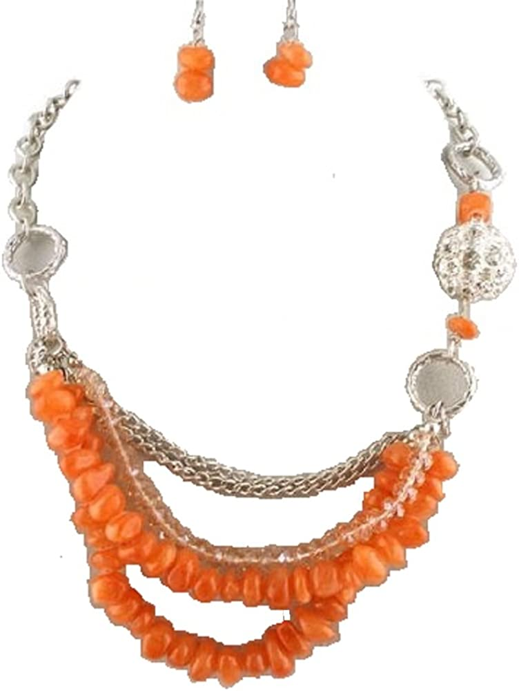 Rose's Gift Store~Fashion Jewelry Coral Chipped Stone and Beads with Crystal Ball Necklace and Earring Set