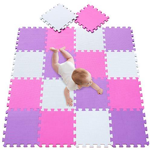 meiqicool Alfombras Puzzle para Bebes Alfombras de Juegos Infantiles Alfombra Puzle para Niños en Espuma EVA 18 Pcs Blanco Rosa y Morado 010311