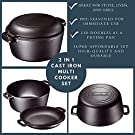 Bruntmor Heavy Duty Pre-Seasoned 2 In 1 Cast Iron Pan 5 Quart Double Dutch Oven Set and Domed 10 inch 1.6 Quart Skillet Lid, Open Fire Stovetop Camping Dutch Oven, Non-Stick #4
