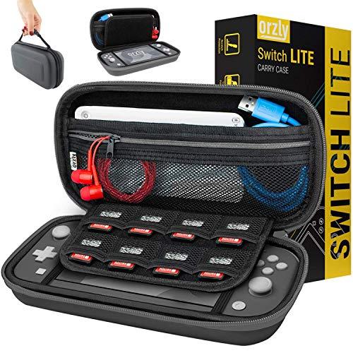 Orzly Tragetasche kompatibel mit Nintendo Switch Lite (2019) – Aufbewahrungstasche - Hartschalen Case/Hülle/Schutzhülle für die Verwendung mit der Nintendo Switch Lite Konsole & Accesoires - GRAU