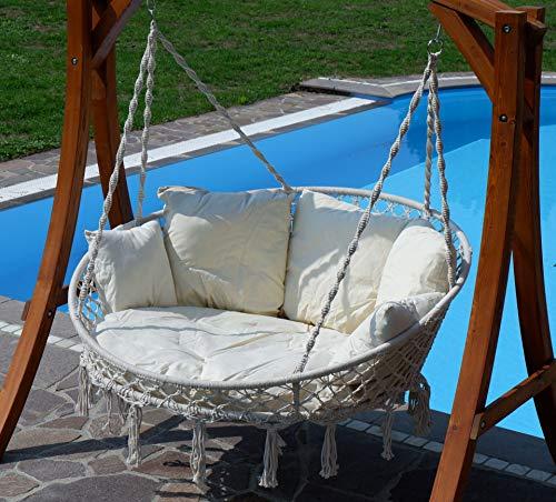 Hängesessel Hängelounger Doppellounger Lounge für 2 Personen Maui mit vielen Kissen klappbar inkl. Hollywoodschaukel - Gestell Aruba mit Dach von AS-S - 9
