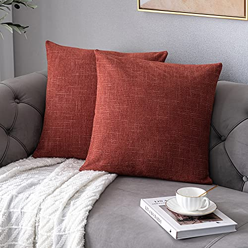 Anickal Rust Pillow Covers 18x18 Inch Set of 2 Rustic Farmhouse Chenille Decorative Throw Pillow Covers Square Cushion Case for Home Sofa Couch Decoration