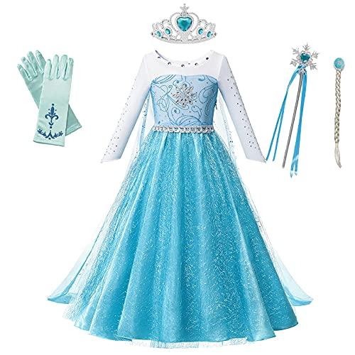 OPYTR Bottles for Lotion Vestido de niñas Princesa Cumpleaños Cosplay Malla de Malla Vestidos de Cristal Halloween Vestido de Navidad Disfraz Chal ( Color : Elsa Dress 4 , Size : 3T )