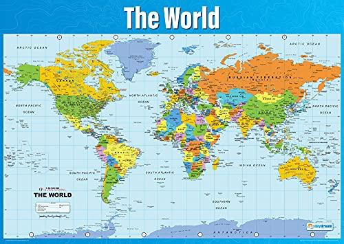 Mappa del mondo | Poster geografico | Carta lucida laminata misura 850 mm x 594 mm (A1) | Poster Geografia Classroom | Schede educative by Daydream Education