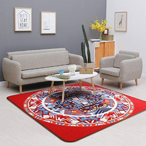 LITINGMEI Rug Tapis de Design Canapés de Salon Table de café Matelas Home Bedroom Chair Coussins Tapis carré Vents célèbres (Couleur : Rouge, Taille : 120 * 120cm)