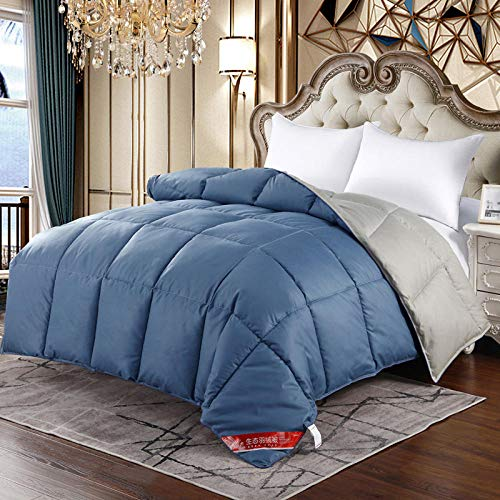 Hahaemall Lightweight Duvet Anti-Dust Mite & Feather-Proof Fabric - All Season - 60% White Goose Feather/40% White Goose Down Winter Quilt-180x220cm-3.5Kg_Blue Gray