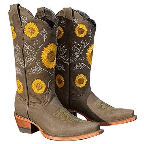 Dwevkeful Ethnischen Stil Damen Kurze Stiefel Bestickte Ankle Boots Patchwork Stiefeletten Schlupfstiefel Sockenstiefel Reißverschluss Gestickte Stiefeletten Langschaft Vielseitige Halblange Stiefel