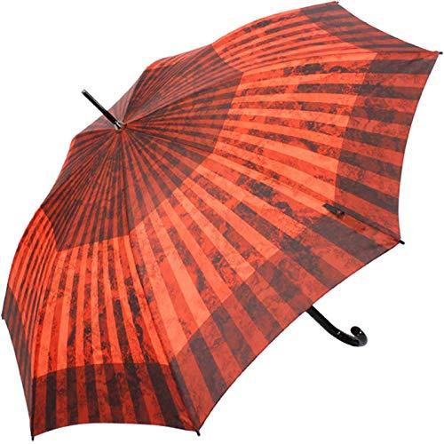 Knirps Damen Stockschirm T.703 Automatik - groß und stabil - Esmeralda, Esmeralda Salsa (Rot / Orange / Schwarz), 105 cm