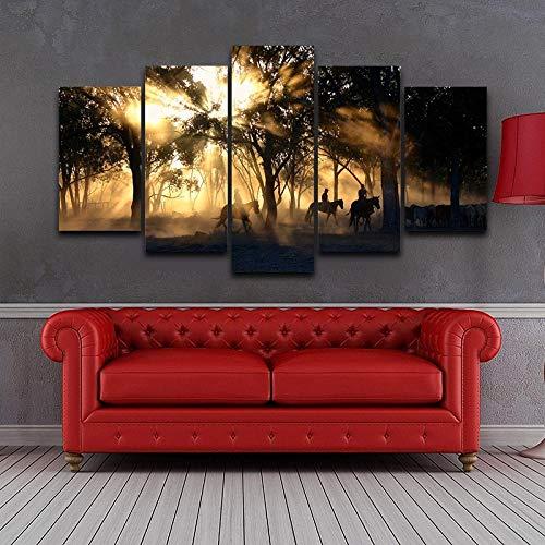 JulCpkian Pintura 5 Partes de Pintura de Mañana Amanecer Bosque Madera Caballo para la decoración Cuadros para dormitorios