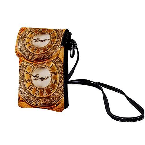 Haminaya Mujer Bolso para teléfono móvil Reloj de bolsillo dorado Bolso bandolera Monedero Mini Bolso de cuero ligero...