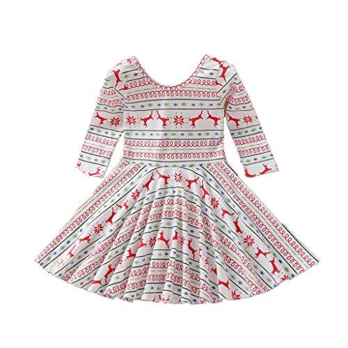 sunnymi - Vestido de Navidad para bebé, diseño de Papá Noel y ciervos Blanco 4-5 Años