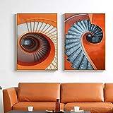 Geiqianjiumai Pintura de Arte Abstracto Moderno Lienzo Mural Escalera de Caracol póster e impresión Mural Pintura decoración de la Sala Pintura sin Marco 50x70 cm