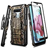 E-Began Case for LG K51, LG Reflect with Tempered Glass Screen Protector (Full Coverage), Belt Clip Holster Kickstand Protective Hybrid Cover Heavy Duty Armor Defender Shockproof Rugged Case -Camo