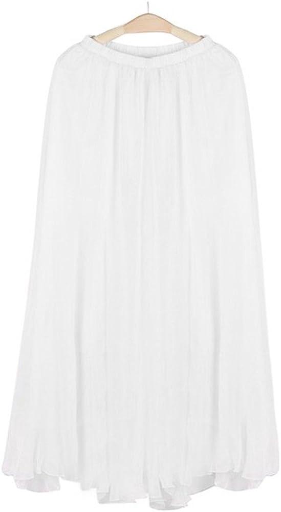 MODOQO Women's Long Skirt Casual Chiffon Maxi Solid Summer Beach Dress Skirts