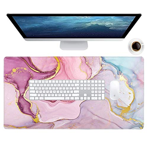 Galdas Gaming Mouse Pad Cool Flash Pattern XXL XL Large Mouse Pad Long Extended Mousepad Desk Pad Non-Slip Rubber Mice Pads Stitched Edges Thin Pad (31.5x11.8x0.08 Inch) (Pink Marble Pattern) …
