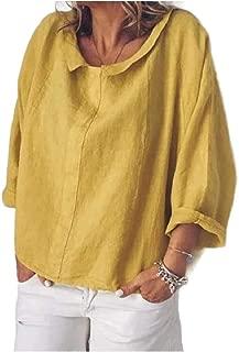 MogogoWomen T-Shirts Solid-Colored Lapel Baggy Long Sleeve Woven Shirt