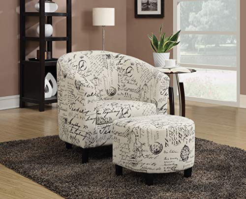 Coaster Home Furnishings 900210 Accent Chair and Ottoman in Vintage French Print Fabric