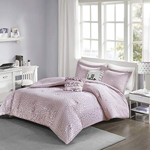 Intelligent Design Zoey Comforter Reversible Triangle Metallic Printed 100% Brushed Ultra-Soft Overfilled Down Alternative Hypoallergenic All Season Bedding-Set, Twin/Twin XL, Purple/Silver