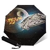 Paraguas plegables Star Mandalorian Wars Death Star - Paraguas automatización Portátil de tres pliegues, impermeable y antirrayos UV, paraguas plegable compacto y Portátil