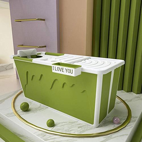 Baibao Barril de baño for el Adulto, bañera Plegable de plástico Espesado portátil baño de artefacto, Cuerpo con Cubierta de Aislamiento de hidromasaje (Color: Morado) (Color : Green)