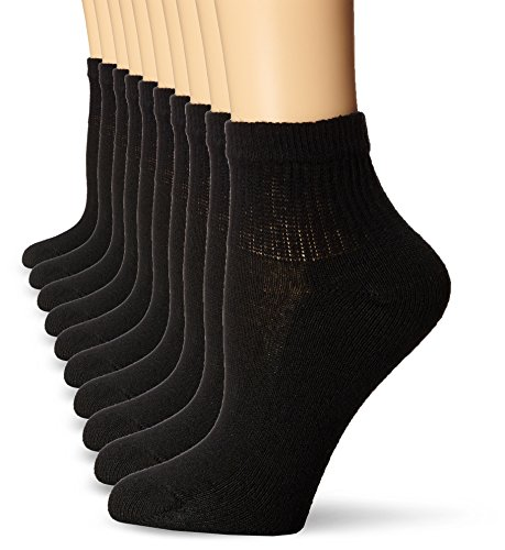 Hanes Women's Shoe Size: 5-9 Cool Comfort EcoSmart Ankle Socks, 10-Pair Pack, Black