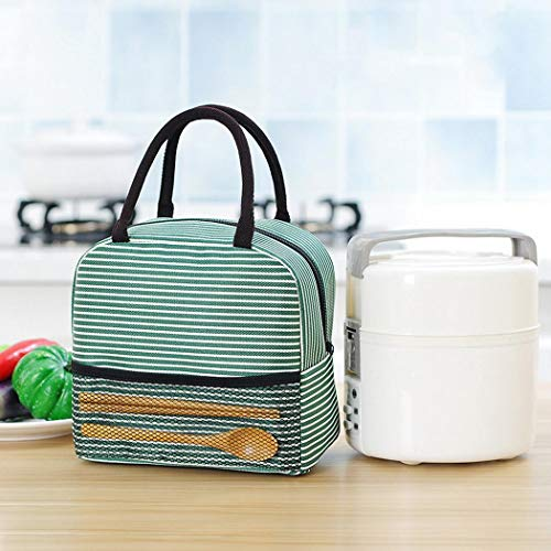 ÔNBAY Portable Stripe Lunch Bag Thermal Canvas Food Container Tote Handbag Lunch Bags Green