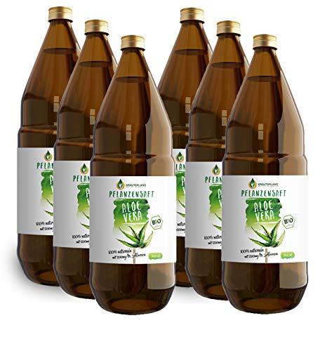 Kräuterland - Bio Aloe Vera Pflanzensaft 6x1L in Glasflasche - 1200mg Aloverose Gehalt - 100% rein, handfiltriert, vegan, naturtrüb- Direktsaft