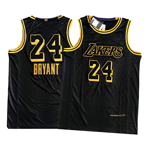 OKMJ Kobe #24 Jersey, Lakers Black Mamba Edición Conmemorativa Camisetas de Baloncesto Camisetas para Hombre, Negro Patrón de Serpiente Chaleco Deportivo Regalo S-XXL L