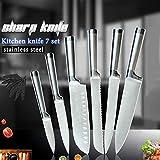 Conjunto cuchillos de cocina de acero inoxidable de cocina vegetal de cocina japonesa Santoku cuchillo de cortar pan cuchillos libre de la cubierta (Color : 6 pcs Set)