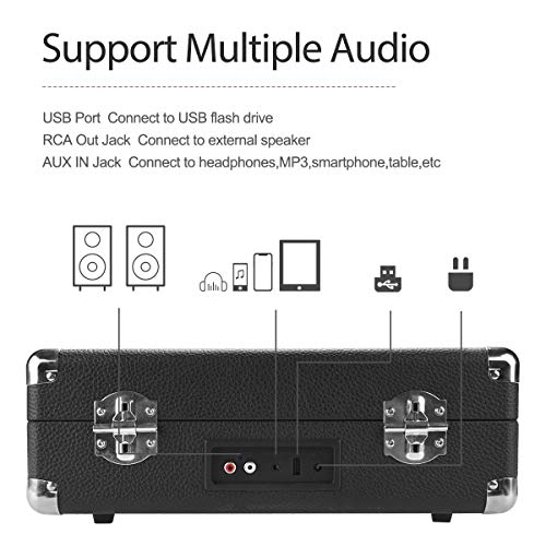 Plattenspieler , AETKFO Bluetooth Plattenspieler 3-Gang Vinyl Plattenspieler mit Lautsprecher, Unterstützung Aufnahme Vinyl, Cinch & USB Ausgang / AUX-In / Kopfhöreranschluss, Koffer Design (schwarz) - 8