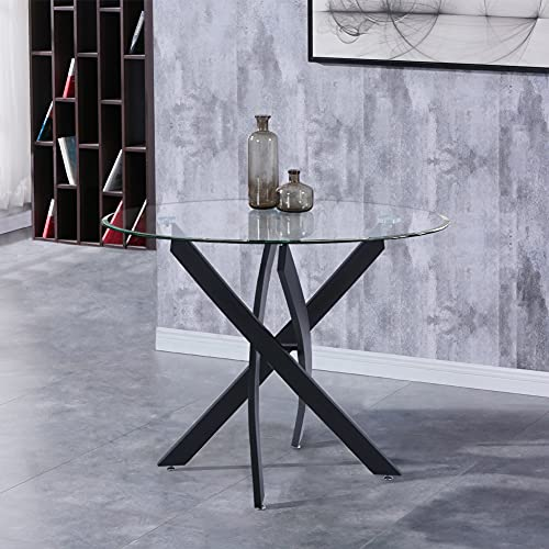 GOLDFAN Round Glass Dining Table Modern Chrome Kitchen Table with Black Metal Legs(Table Only)