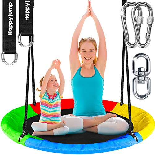 Tree Swing Set with 360° Swivel Safety Rotator 40' Saucer Swing Seat for Kids Backyard Outdoor (Multicolor)