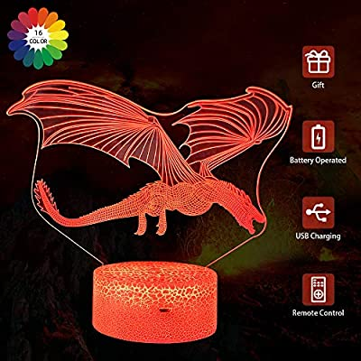 Flow.month Dinosaur Night Lighting Lamp for Boys 3D Illusion Pterosaur Night Light Touch Remote Control Color Changing LED Nightlight Kids Birthday Gift Children Bedroom Decor by SONGHE