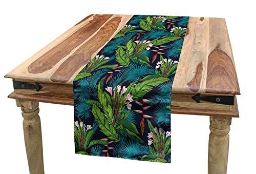 ABAKUHAUS Blad Tafelloper, Tropische jungle Pattern, Eetkamer Keuken Rechthoekige Loper, 40 x 180 cm, Veelkleurig