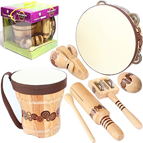 Handmade Wooden Musical Instruments Set,Natural Pigskin,Kids Percussion Bongo Drum,Tambourine 8 inch,Castanets,Egg Shaker,Tone Block and Guiro,Jingles Tap,Excellent Gift for Teaching Rhythm