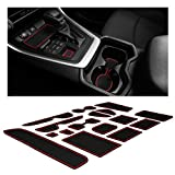 CupHolderHero Compatible with Toyota RAV4 Accessories 2019-2021 Premium Custom Interior Non-Slip Anti Dust Cup Holder Inserts, Center Console Liner Mats, Door Pocket Liners 15-pc Set (Red Trim)
