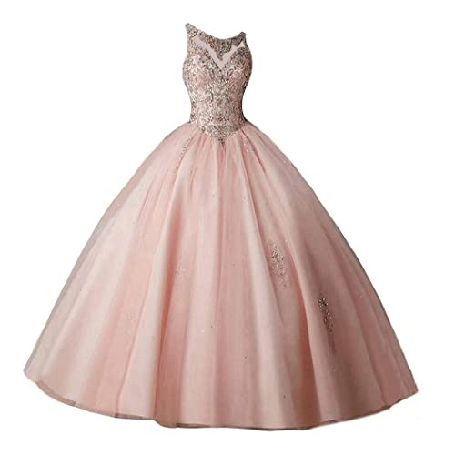 Beilite Women's Sweetheart Prom Long Dresses Quinceanera Gown with Crystal Sequins