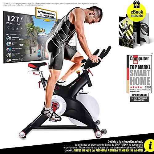 Sportstech Bicicleta estática Profesional SX500 -Marca de Calidad Alemana -Eventos en Vivo y App Multijugador, Volante de 25KG, Compatible con...