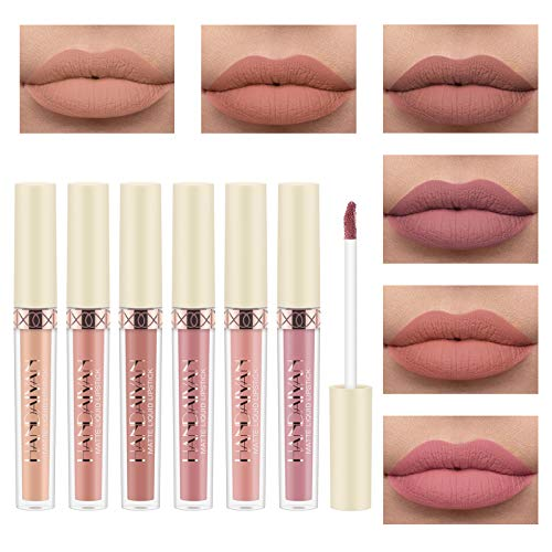 Ensemble de Brillant à Lèvres Mat, Richaa 6 Couleurs Rose Rouge à Lèvres Mat Velouté...