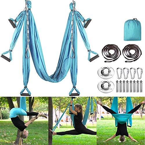 MQSS Antigravity Aerial Yoga Hängematten-Set - Yoga-Schaukel-Set - Yoga-Trapez-Sling-Set Flying Yoga Silk-Set für Kinder und Erwachsene, Heim und Outdoor Blue