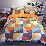 Bedclothes-Blanket Copripiumino Matrimoniale 240 x 260,Set di Quattro Biancheria da Letto Rosa Rossa-O_1,8 m Bed (20 Set di 200 * 230 cm)