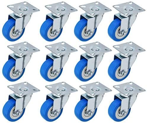 """2021 2"""" high quality Swivel Caster Polyurethane Wheels Base online sale Top Plate Double Ball Bearing -Blue -12PCS outlet sale"""
