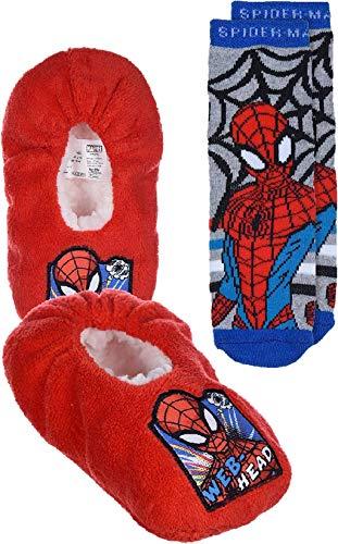 Marvel Zapatillas de Spiderman con puntos antideslizantes y calcetines antideslizantes a juego., color Rojo, talla 25 EU