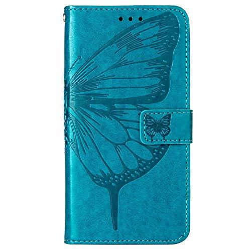 Funda de protección para Motorola Moto G Play 2021, diseño de mariposas y flores, con ranuras para tarjetas azules