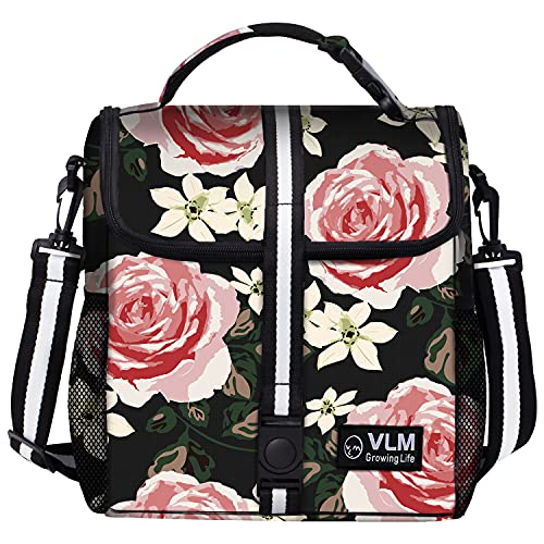 VLM Lunch Bags for Women,Leakproof Insulated Floral Lunch Box with Adjustable Shoulder Strap Reusable Zipper Cooler Tote Bag for Work,Picnic,Camping (Floral 6)