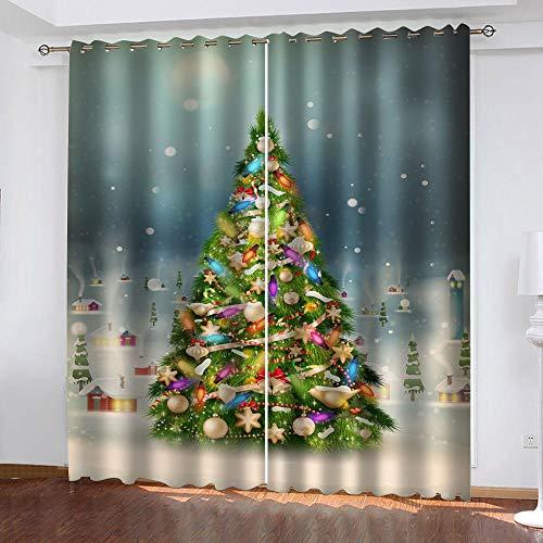 bdbdff Cortina 3D De Dormitorio Árbol De Navidad, Adecuado para Sala De Estar Dormitorio Decoración Impresa En 3D...