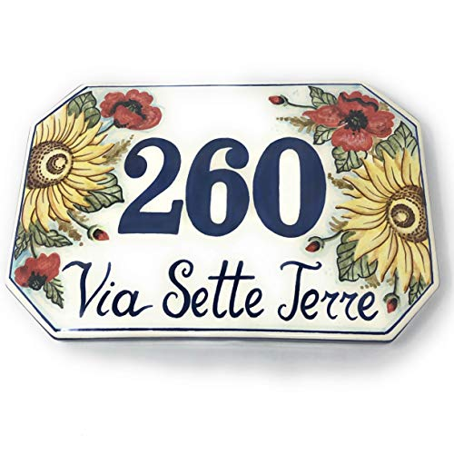 CERAMICHE D'ARTE PARRINI- Künstlerische italienische Keramik Keramik Hausnummer 30x20 individuelle Dekoration Sonnenblumen und Mohn, Fliesen handgemacht in Italien Toscana